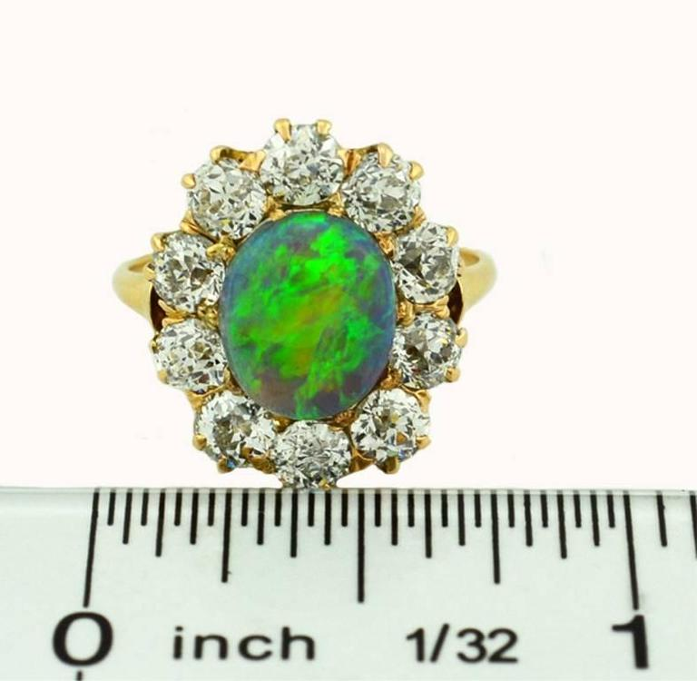 Victorian Opal Diamond Gold Cluster Ring 5