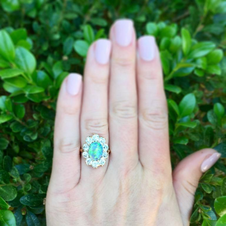 Victorian Opal Diamond Gold Cluster Ring 6