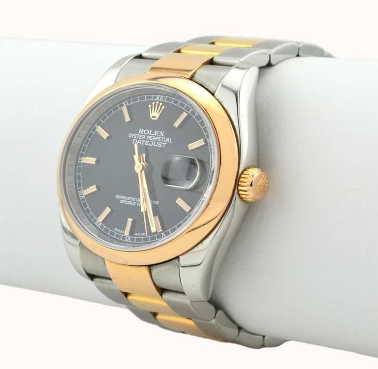 Rolex Yellow Gold Stainless Steel Everose Datejust Wristwatch Ref 116201 For Sale 1