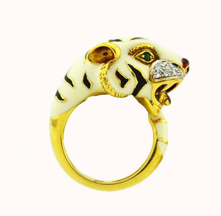 Emerald Diamond Enamel Gold Tiger Ring 4
