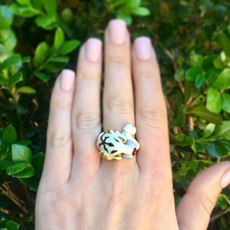 Emerald Diamond Enamel Gold Tiger Ring 6