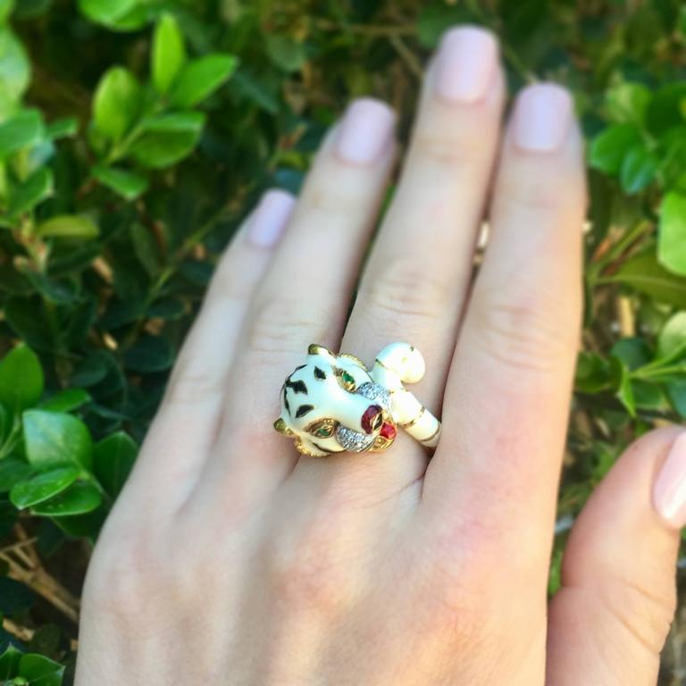 Emerald Diamond Enamel Gold Tiger Ring 7