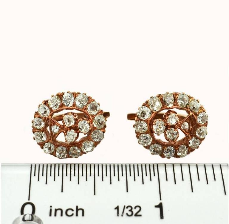 Victorian Old Mine Cut Diamond Rose Gold Earrings 5