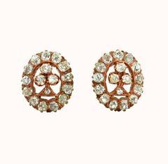 Victorian Old Mine Cut Diamond Rose Gold Earrings