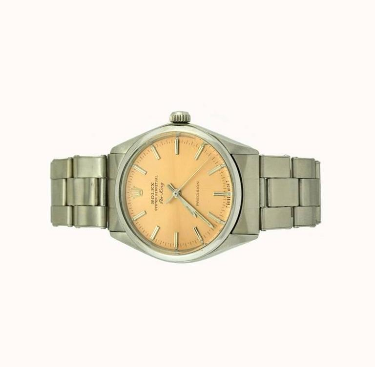 Rolex Stainless Steel Orange Dial Air-King Automatic Wristwatch Model 5500 2