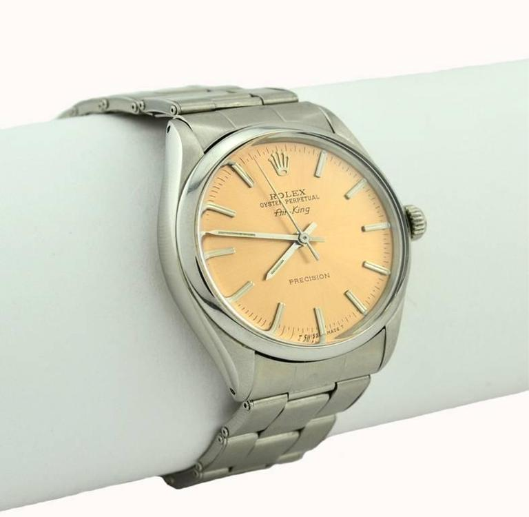 Rolex Stainless Steel Orange Dial Air-King Automatic Wristwatch Model 5500 4