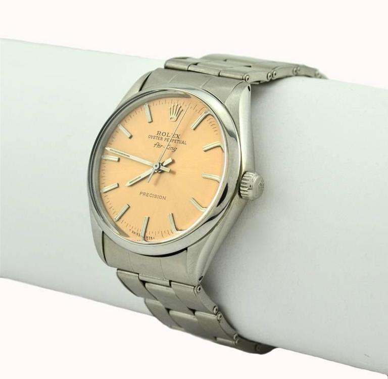 Rolex Stainless Steel Orange Dial Air-King Automatic Wristwatch Model 5500 5