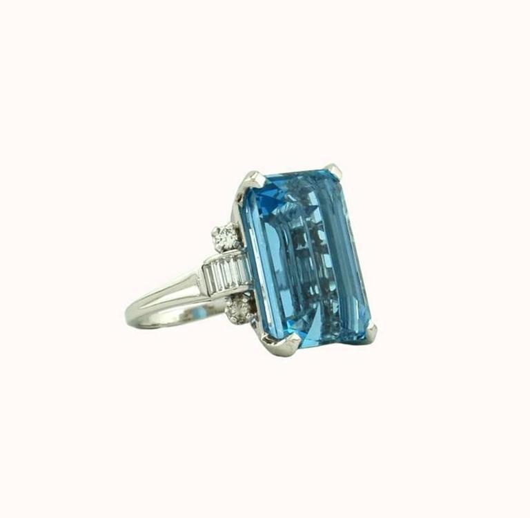 Tiffany and co santa maria aquamarine diamond platinum for Santa maria jewelry company