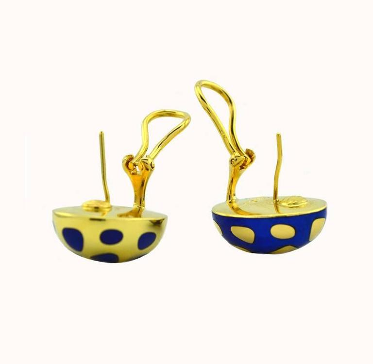 Tiffany & Co. Angela Cummings Lapis Gold Earrings In Excellent Condition For Sale In Los Angeles, CA