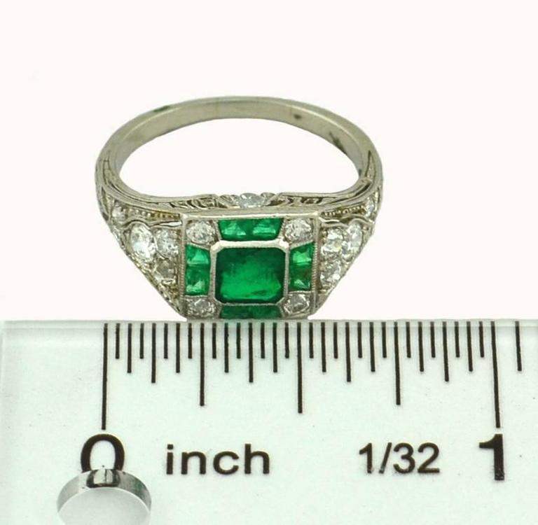 Art Deco Emerald Diamond Platinum Ring For Sale 2