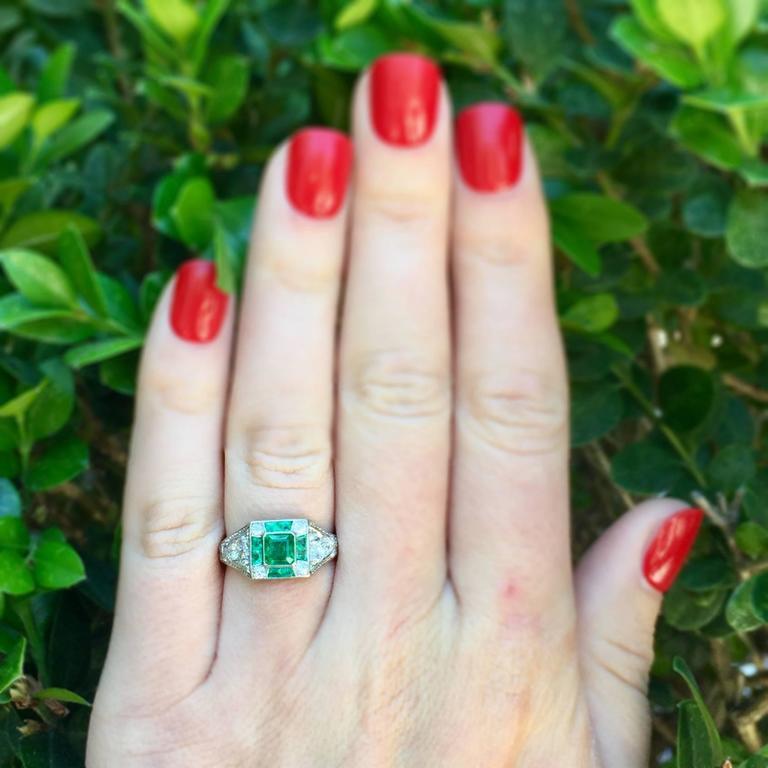Art Deco Emerald Diamond Platinum Ring For Sale 3