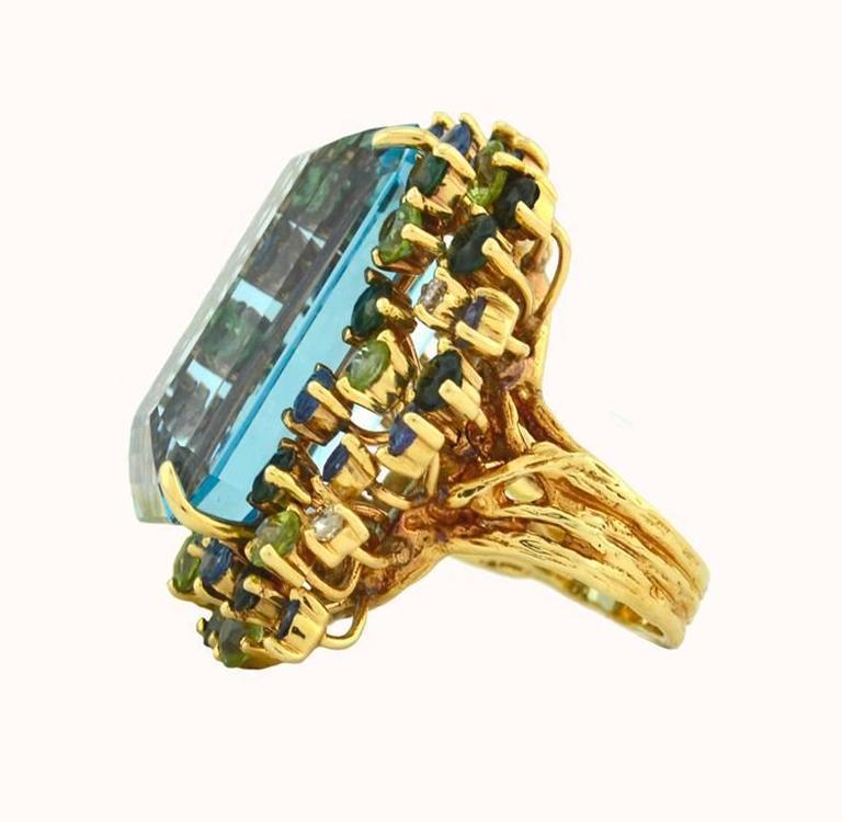 35.50 Carat Aquamarine Peridot Diamond Sapphire Gold Ring 4
