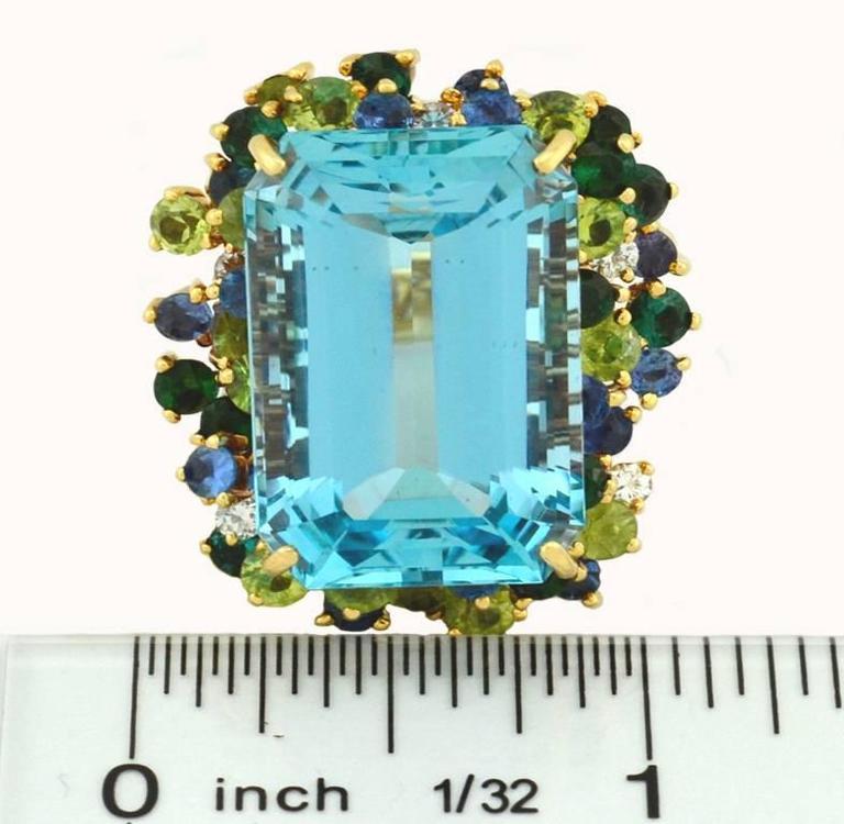 35.50 Carat Aquamarine Peridot Diamond Sapphire Gold Ring 5