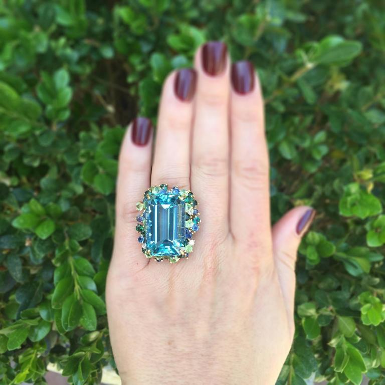 35.50 Carat Aquamarine Peridot Diamond Sapphire Gold Ring 6