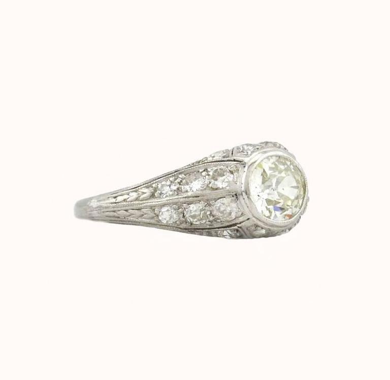 Women's 1.18 Carat Art Deco Old European Cut Diamond Platinum Engagement Ring For Sale