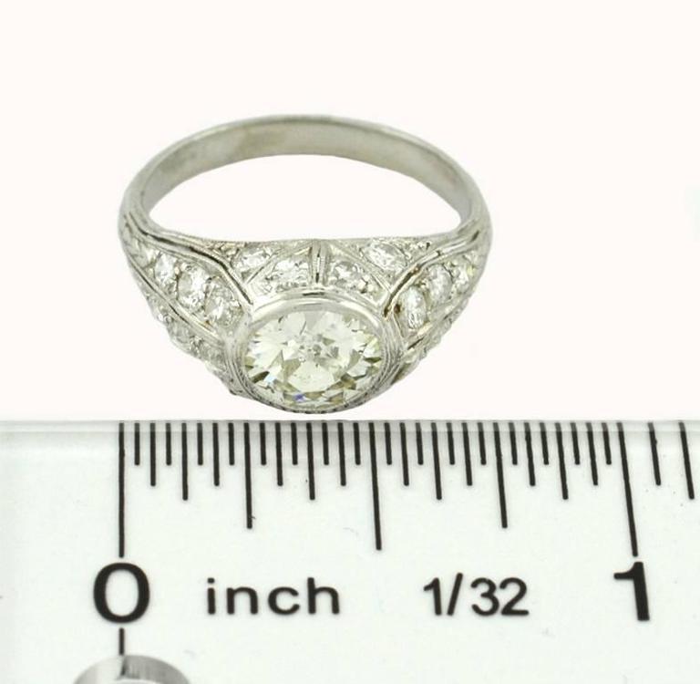 1.18 Carat Art Deco Old European Cut Diamond Platinum Engagement Ring For Sale 1