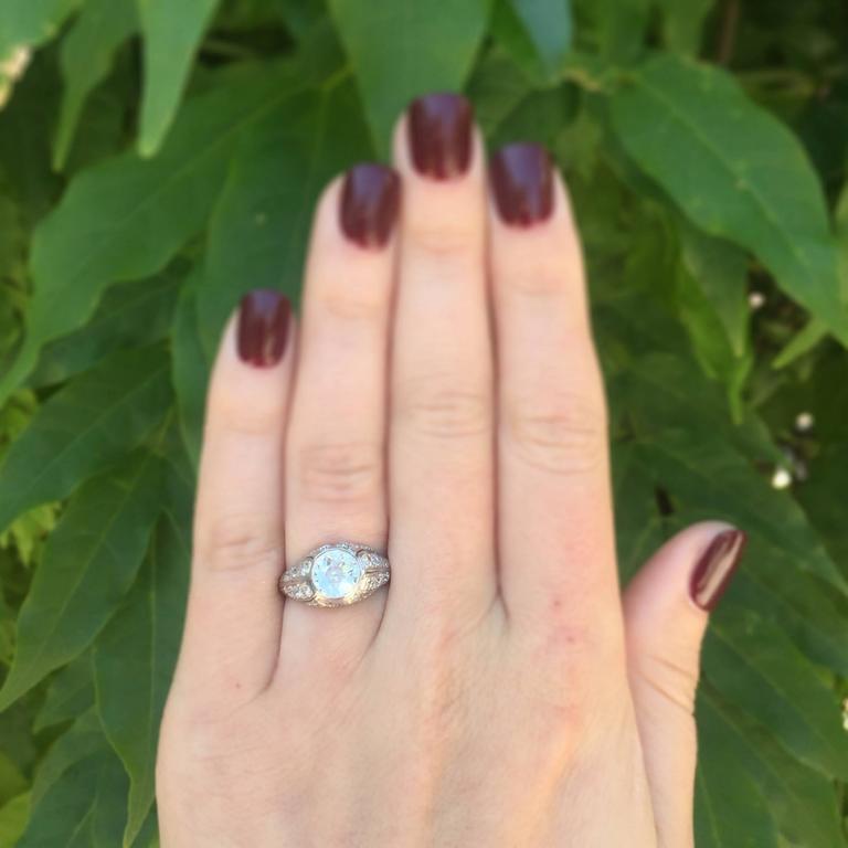 1.18 Carat Art Deco Old European Cut Diamond Platinum Engagement Ring For Sale 2