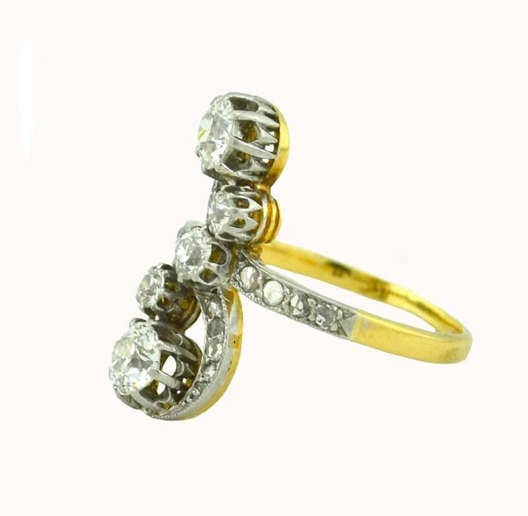 Antique Old European Cut and Rose Cut Diamond Yellow Gold Ring 4