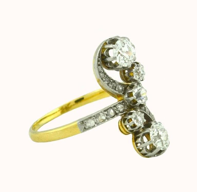 Antique Old European Cut and Rose Cut Diamond Yellow Gold Ring 5