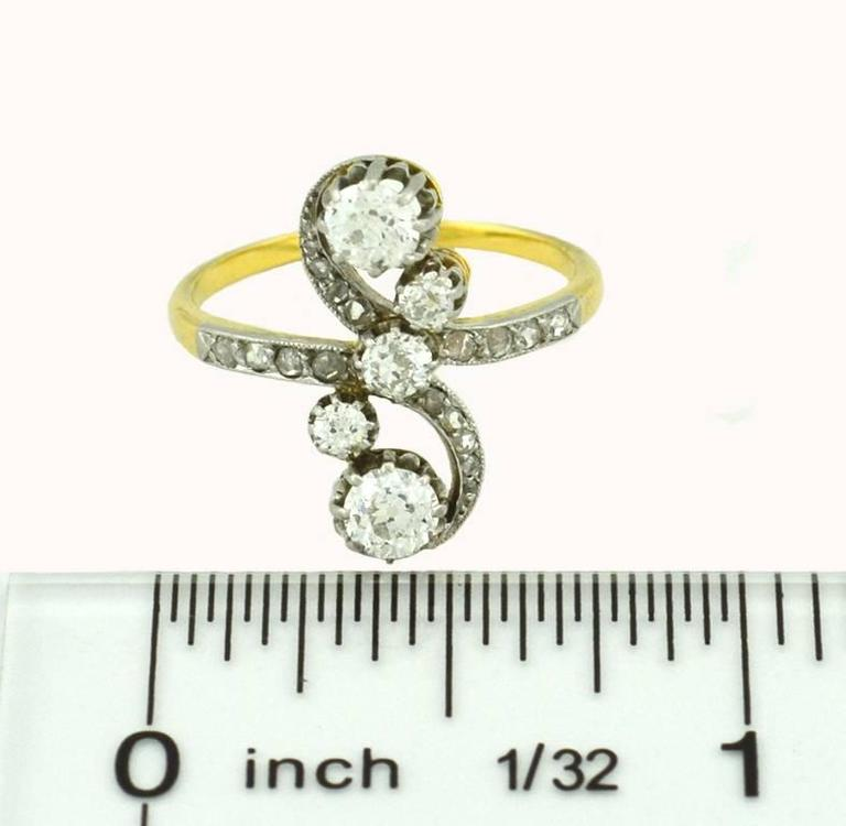 Antique Old European Cut and Rose Cut Diamond Yellow Gold Ring 6