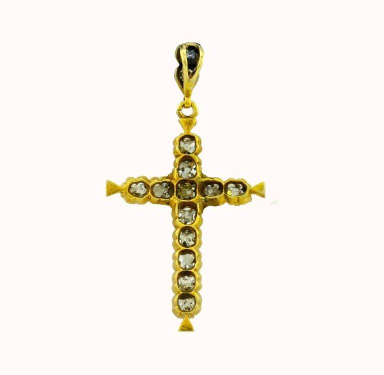Victorian Old Cut Diamond Yellow Gold Cross Pendant 2