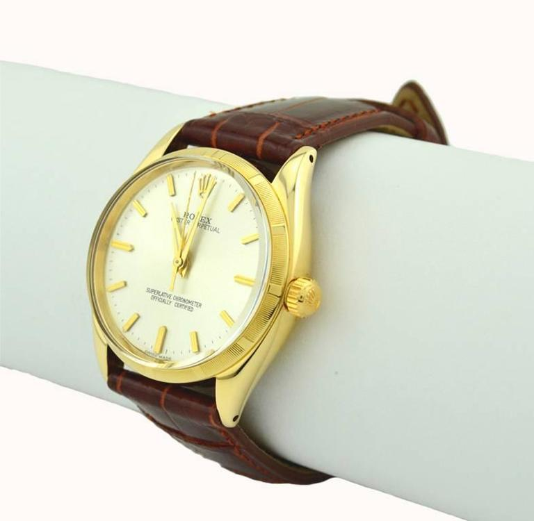 Rolex yellow gold Oyster Perpetual Wristwatch Ref 1003, circa 1966 In Excellent Condition For Sale In Los Angeles, CA