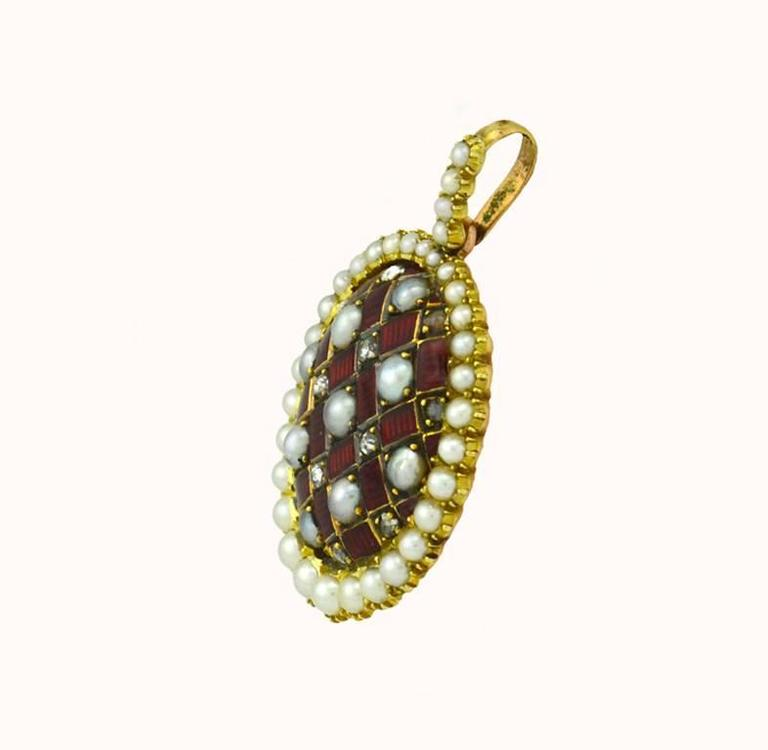 Victorian Gold and Red Enamel Pendant with Rose Cut Diamonds and Pearls In Excellent Condition For Sale In Los Angeles, CA