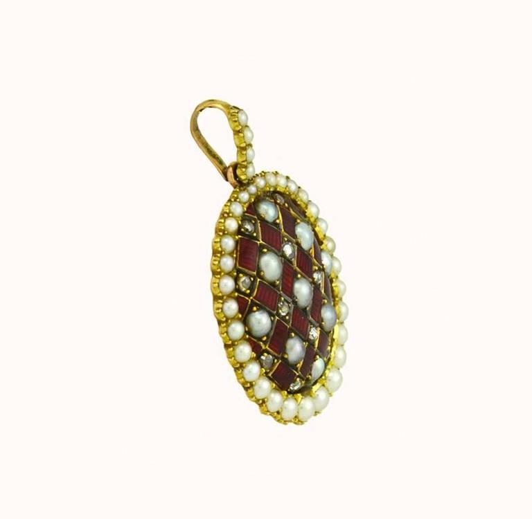 Women's Victorian Gold and Red Enamel Pendant with Rose Cut Diamonds and Pearls For Sale