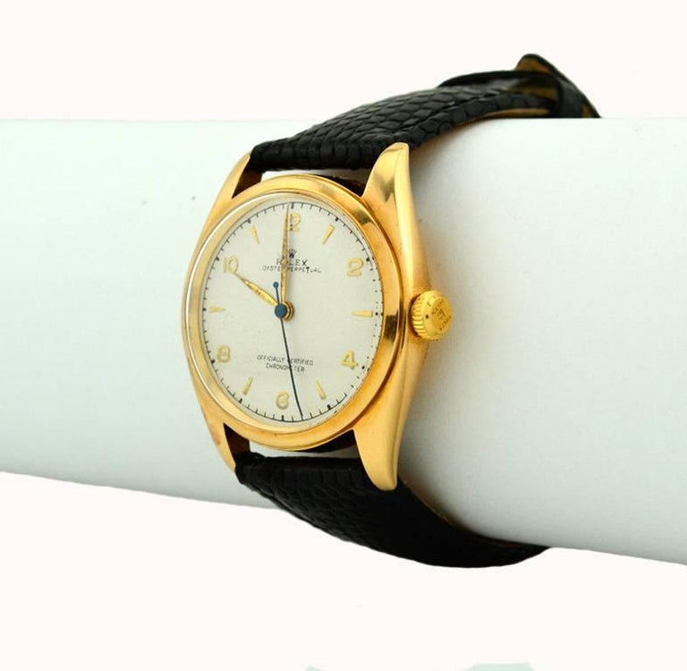 Women's or Men's Rolex Yellow Gold Oyster Perpetual Wristwatch Ref 4392, circa 1948 For Sale