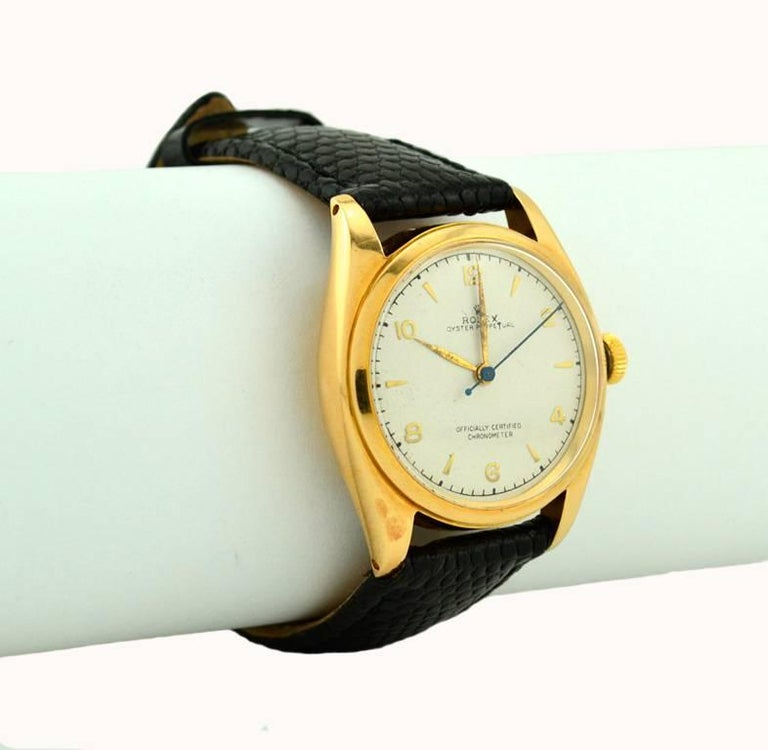 Rolex Yellow Gold Oyster Perpetual Wristwatch Ref 4392, circa 1948 For Sale 1
