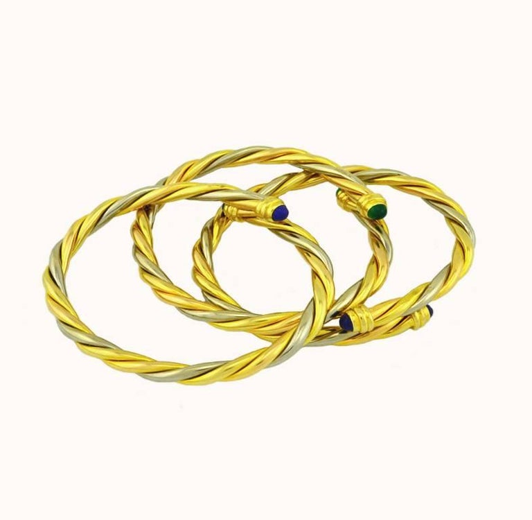 Cartier Yellow and White Gold Set of Three Twist Bracelets In Excellent Condition For Sale In Los Angeles, CA