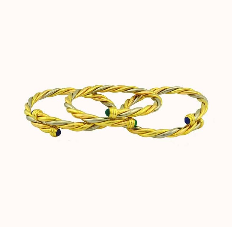 Cartier Yellow and White Gold Set of Three Twist Bracelets For Sale 1