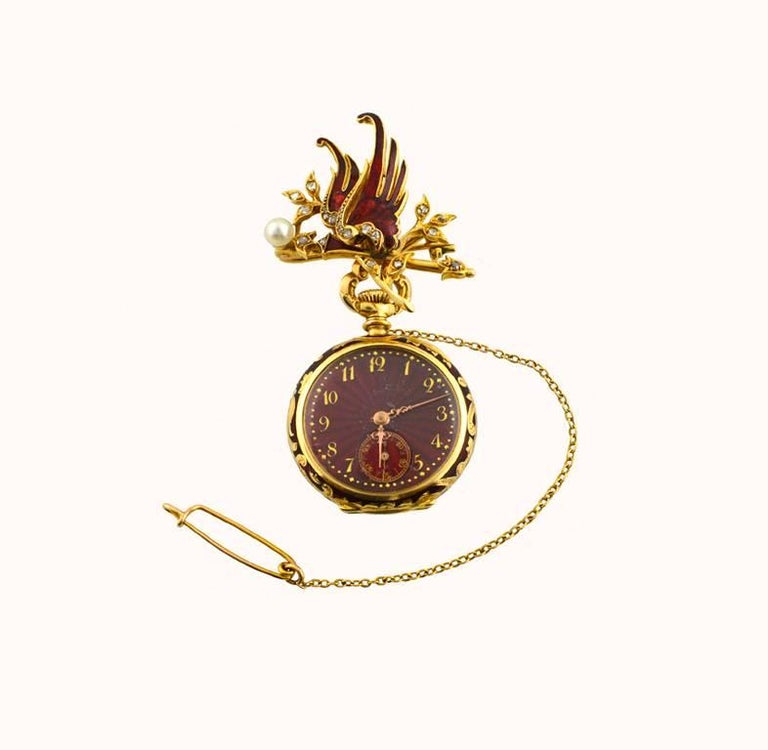 Wittnauer Yellow Gold Enamel Antique Pendant Pocket Watch 2