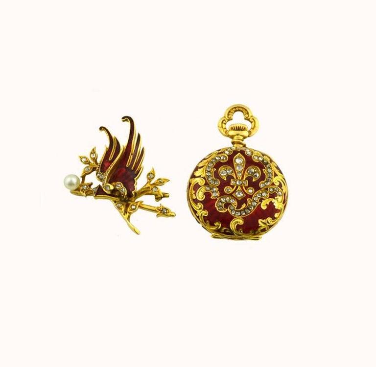 Wittnauer Yellow Gold Enamel Antique Pendant Pocket Watch 3