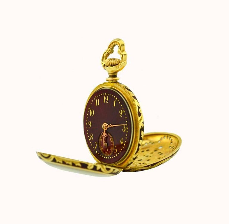 Wittnauer Yellow Gold Enamel Antique Pendant Pocket Watch 4