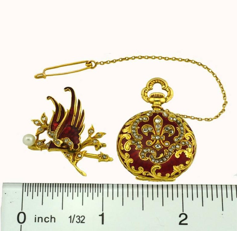 Wittnauer Yellow Gold Enamel Antique Pendant Pocket Watch 5