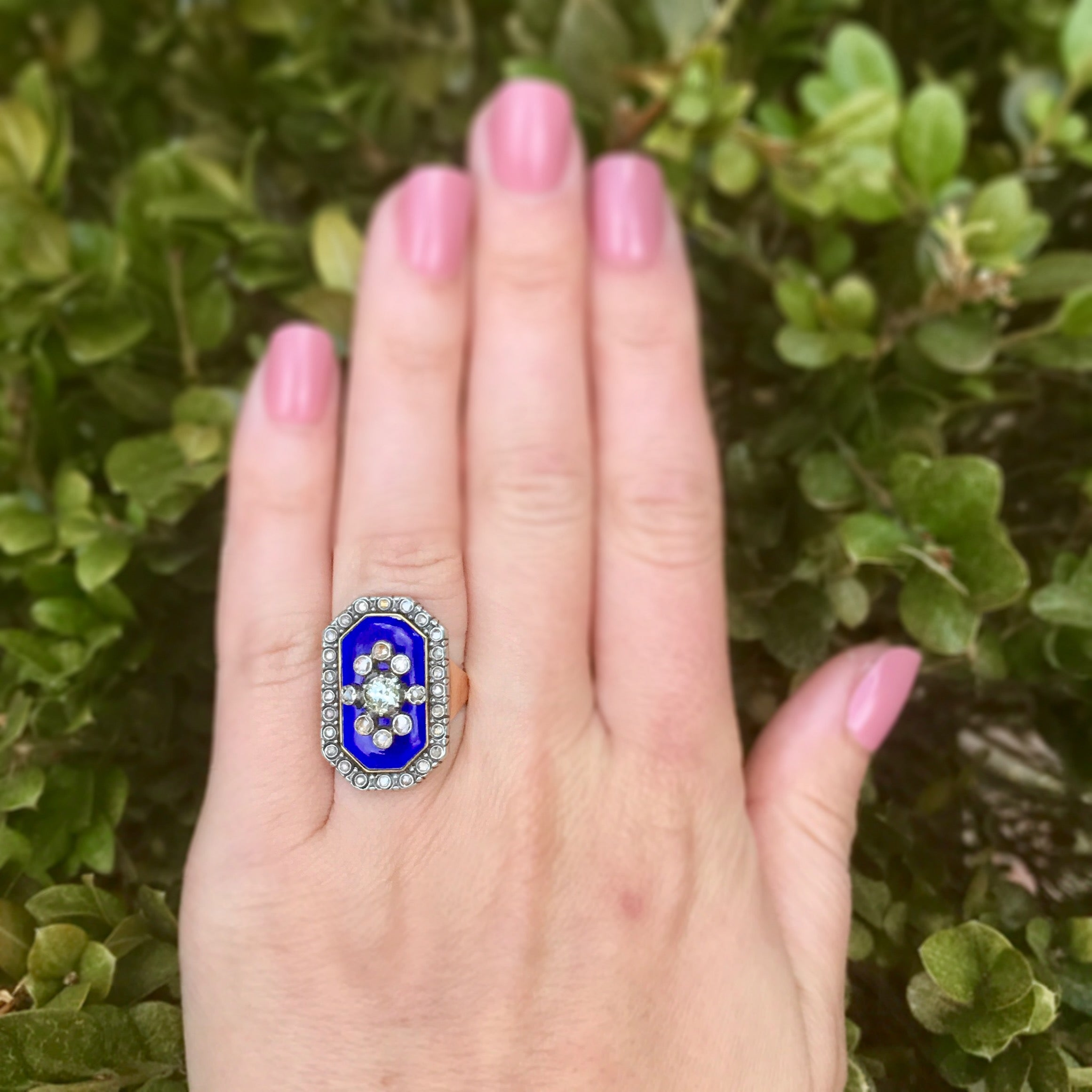 Victorian Blue Enamel Old Cut Diamond Ring For Sale at 1stdibs