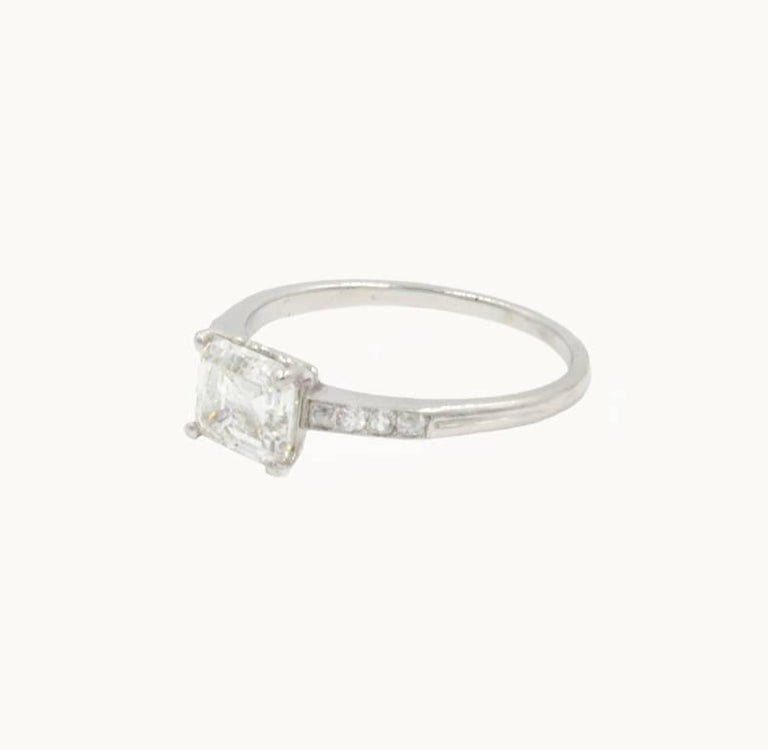 Art Deco GIA Certified 1.21 Carat Emerald Cut Diamond Platinum Engagement Ring For Sale 2