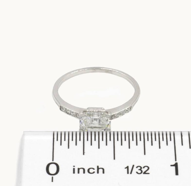 Art Deco GIA Certified 1.21 Carat Emerald Cut Diamond Platinum Engagement Ring For Sale 3