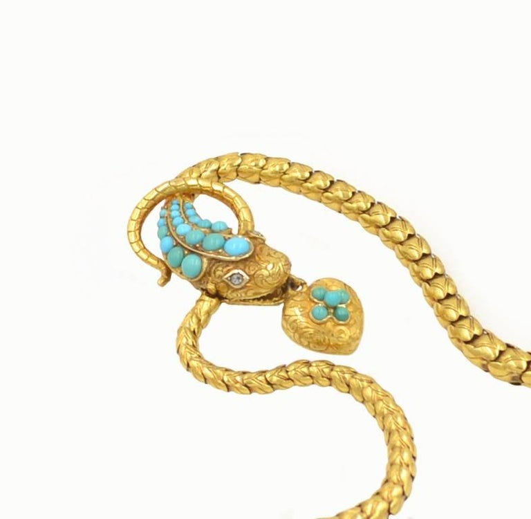 Victorian 18 Karat Yellow Gold and Turquoise Snake Locket Necklace, circa 1870 2