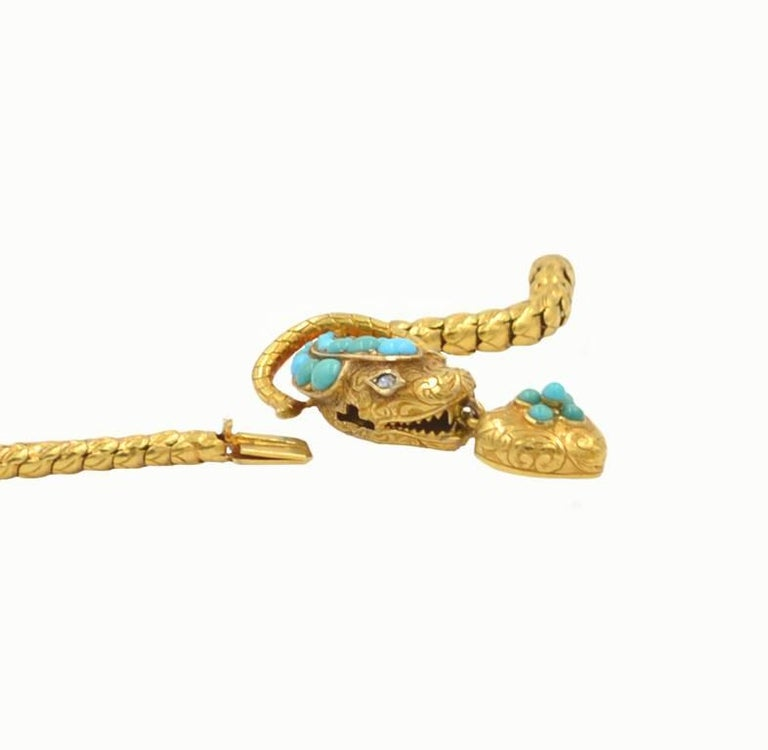 Victorian 18 Karat Yellow Gold and Turquoise Snake Locket Necklace, circa 1870 3