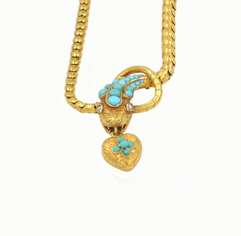 Victorian 18 Karat Yellow Gold and Turquoise Snake Locket Necklace, circa 1870 4