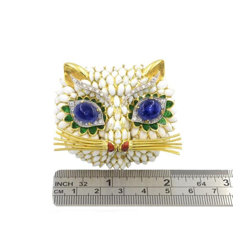 Sapphire Eyed Enamel Kitty Cat Brooch, 1960s For Sale 1