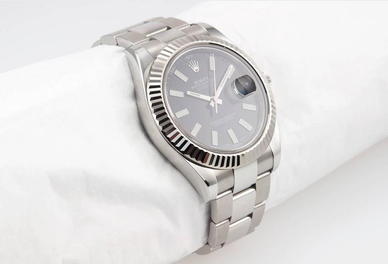 Rolex Stainless Steel Gold Fluted bezel DateJust II Wristwatch Ref 116334 In Excellent Condition For Sale In Los Angeles, CA