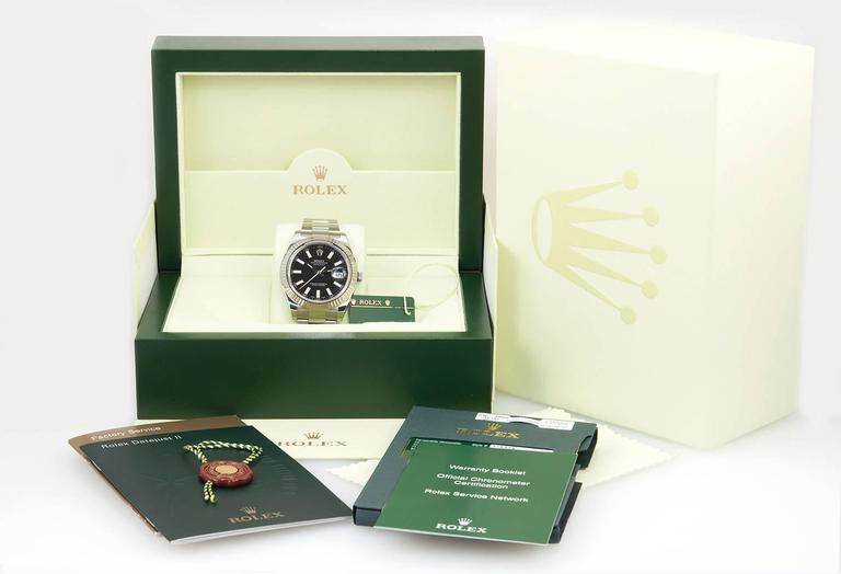 Rolex Stainless Steel Gold Fluted bezel DateJust II Wristwatch Ref 116334 For Sale 2