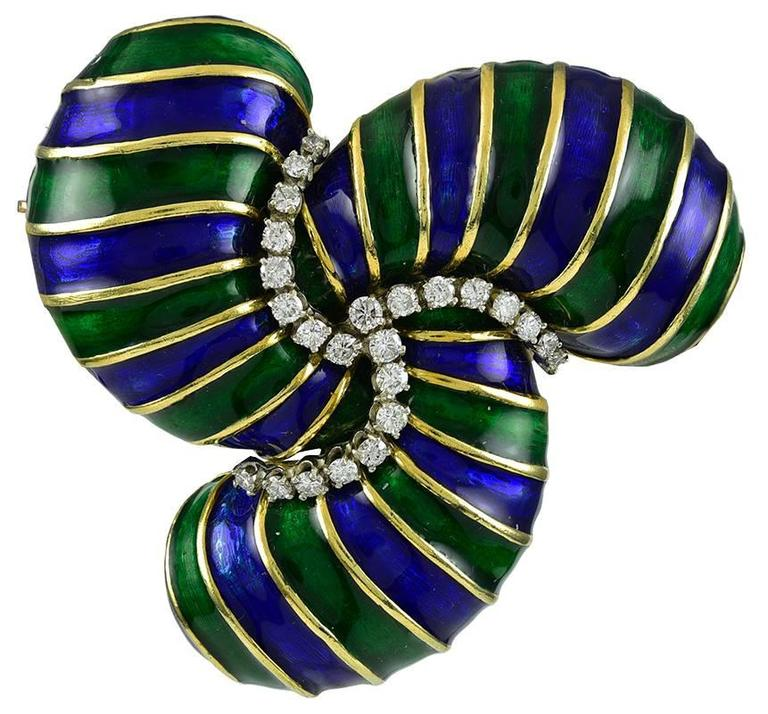 Boris Lebeau Enamel Diamond Gold Brooch 1