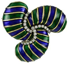 Boris Lebeau  Enamel Diamond Gold Brooch