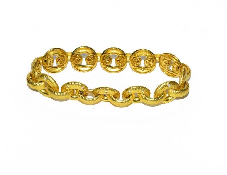Gorgeous Paul Morelli 18K and diamond link bracelet, 7.25