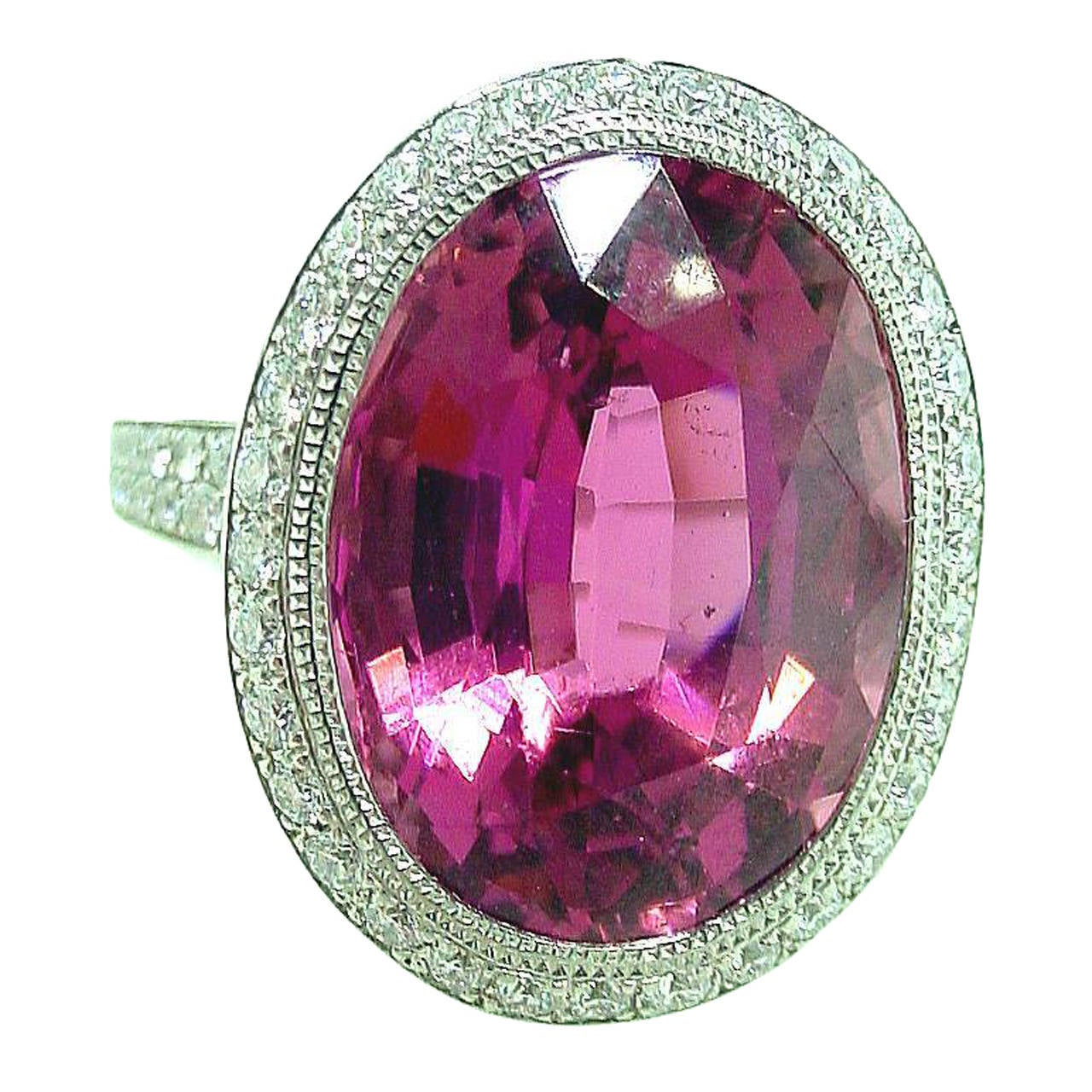 Tiffany & Co. France Tourmaline Diamond Platinum Ring