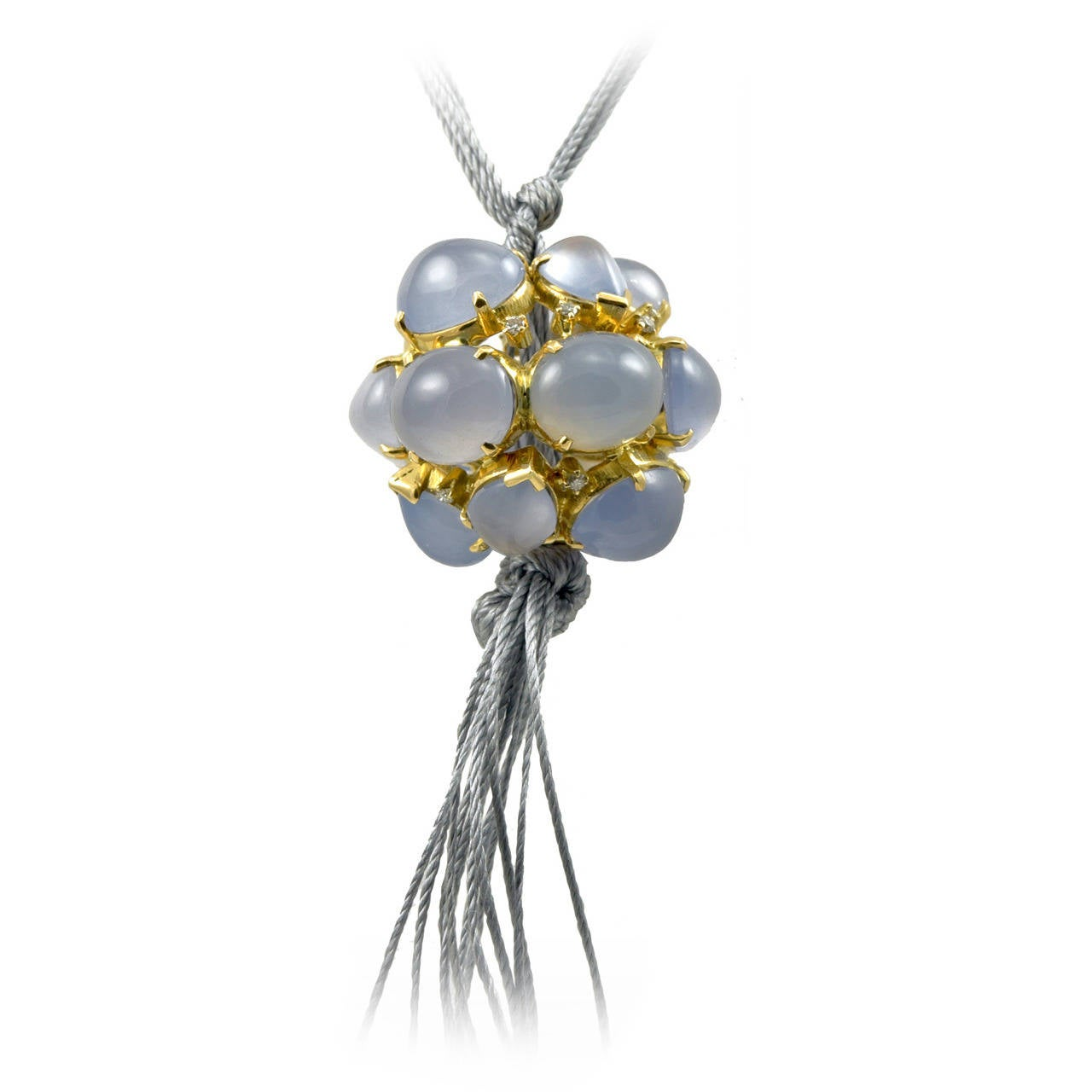 Outstanding Virginia Witbeck Chalcedony Diamond Gold Ball Necklace